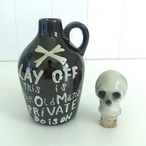 Vintage 1950's skull bottle decanter bar ware